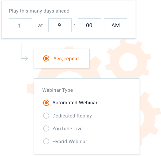 scheduling a webinar and choosing what type